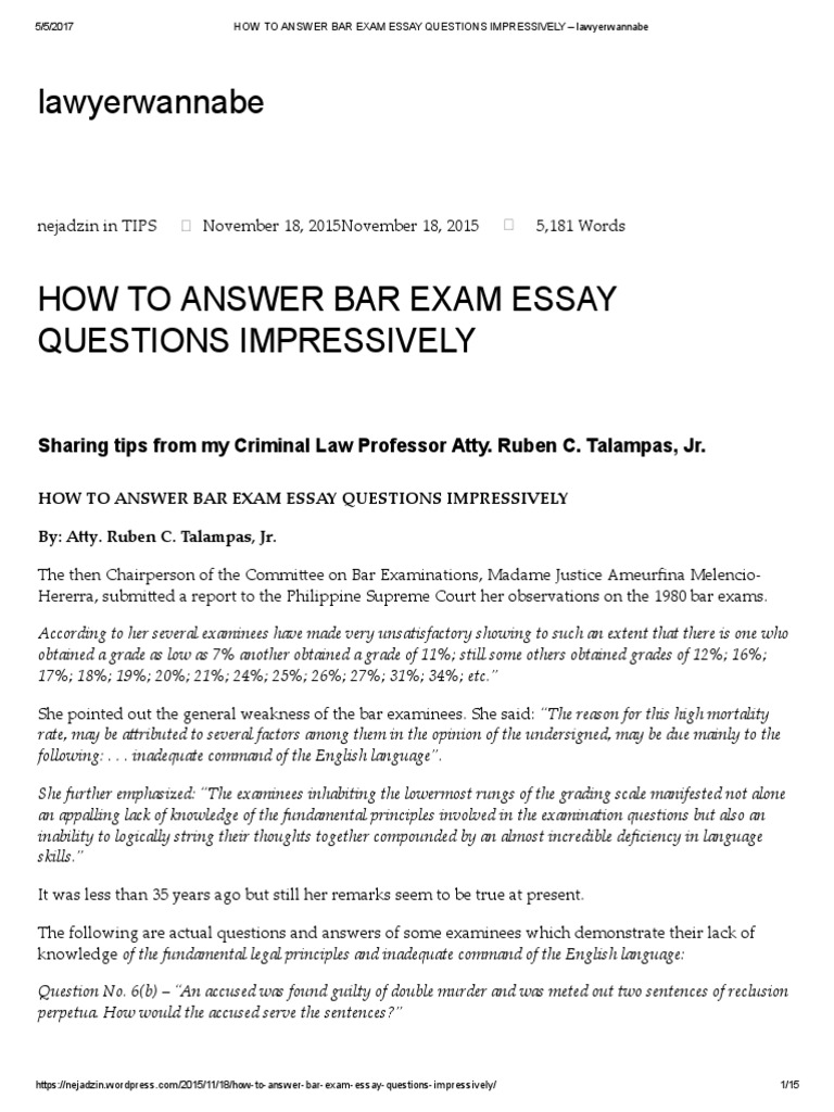 How to answer bar exam essay questions impressively supreme courts