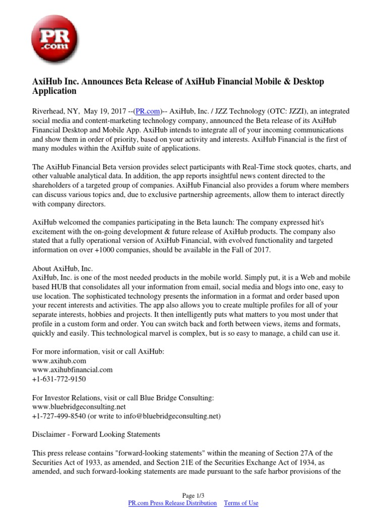 AxiHub Inc  Announces Beta Release of AxiHub Financial