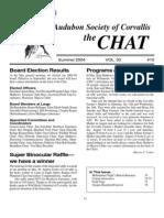 Summer 2004 Chat Newsletter Audubon Society of Corvallis