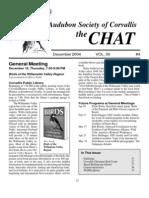 December 2004 Chat Newsletter Audubon Society of Corvallis