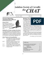 January 2005 Chat Newsletter Audubon Society of Corvallis