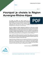 Pourquoi je choisis la Région  Auvergne-Rhône-Alpes