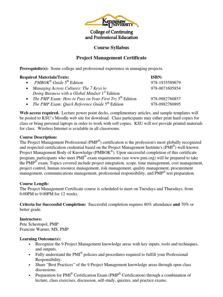 Course Syllabus Project Management Certificate Kennesaw State
