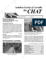 December 2007 Chat Newsletter Audubon Society of Corvallis