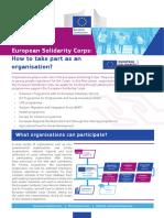 European Solidarity Corps Informacion Organizaciones CES Ingles