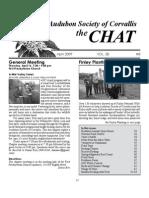 April 2009 Chat Newsletter Audubon Society of Corvallis