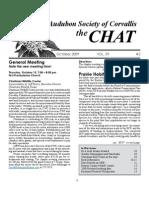 October 2009 Chat Newsletter Audubon Society of Corvallis