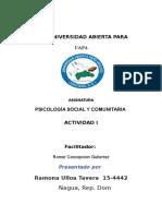 Psicología Social y Comunitaria Tarea 1