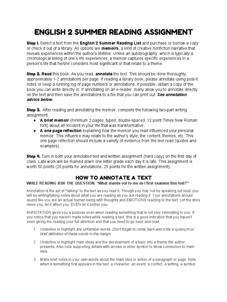 annotated text assignment Peruse this example of annotated text to help develop good reading habits, select a method for marking up your text you'll find that annotation really helps comprehension and completing later assignments with the reading.