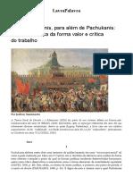 Joelton Nascimento. Com Pachukanis, Para Além de Pachukanis_ Direito, Dialética Da Forma Valor e Crítica Do Trabalho – LavraPalavra