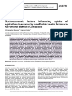 Socio-economic factors influencing uptake of agriculture insurance by smallholder maize farmers in Goromonzi district of Zimbabwe