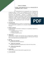 Plan de Trabajo Implementación de La Evaluación de La Programación Académica