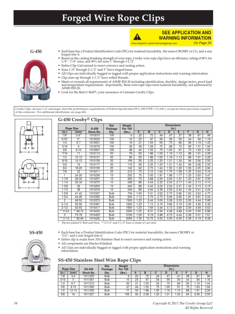 Crosby G-450 Wire Rope Clips Specs | Rope | Torque