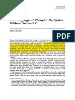Tim Crane Syntax and Semantics