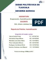 Reporte de Practica Humidificación