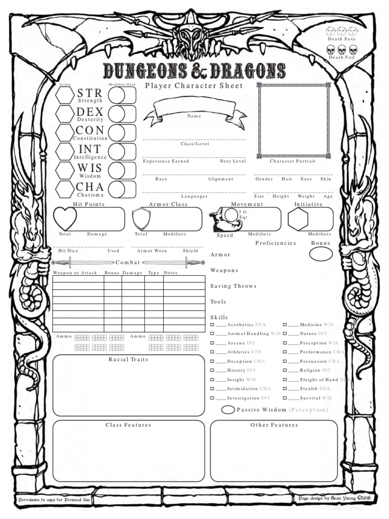 Top Five D&d 5e Character Sheet Fillable Online - Circus