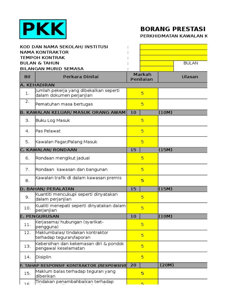 Lampiran 1 2 Borang Penilaian Prestasi Kontraktor Kbk Pkk Bmb