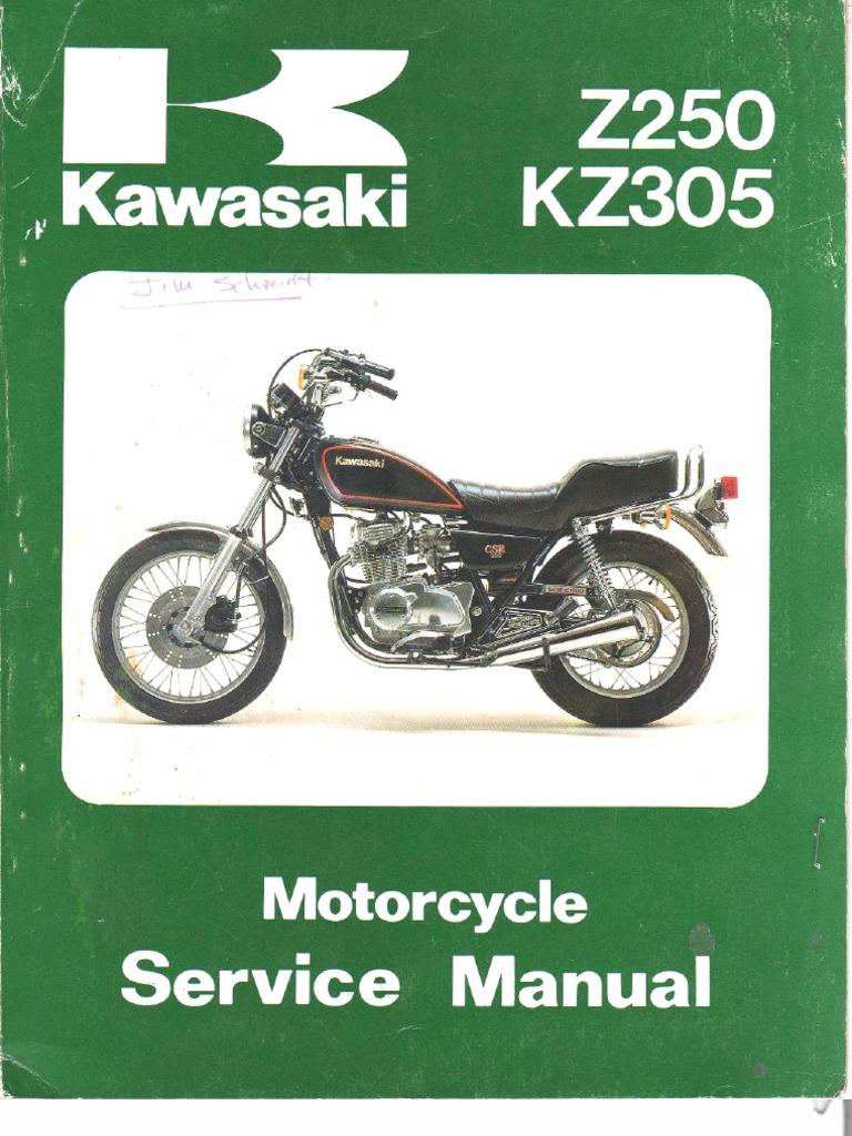 kawasaki kz 250 305 79 a 82 service manual