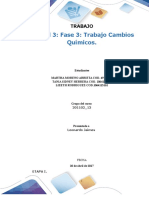Formato Entrega Trabajo Colaborativo – Unidad 3 Fase 3 Trabajo Cambios Químicos.