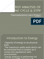 Exergy Analysis of Rankine Cycle & Stpp