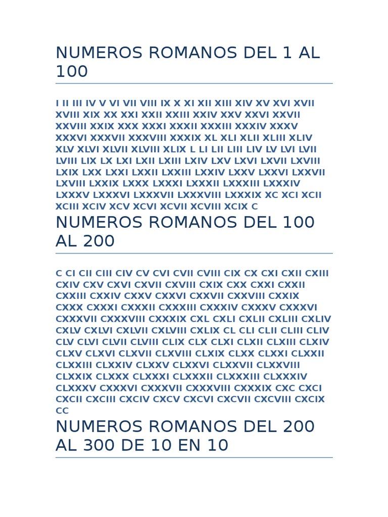 Numeros Romanos Del 1 Al 100docx