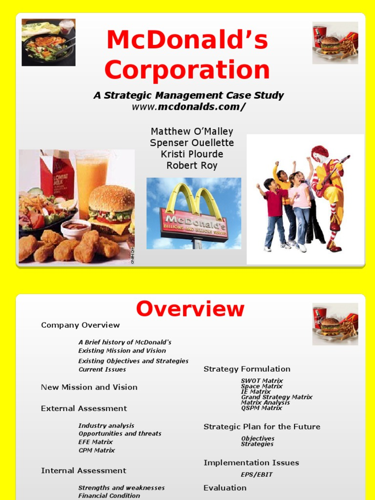 strategic management complete project on mcdonald