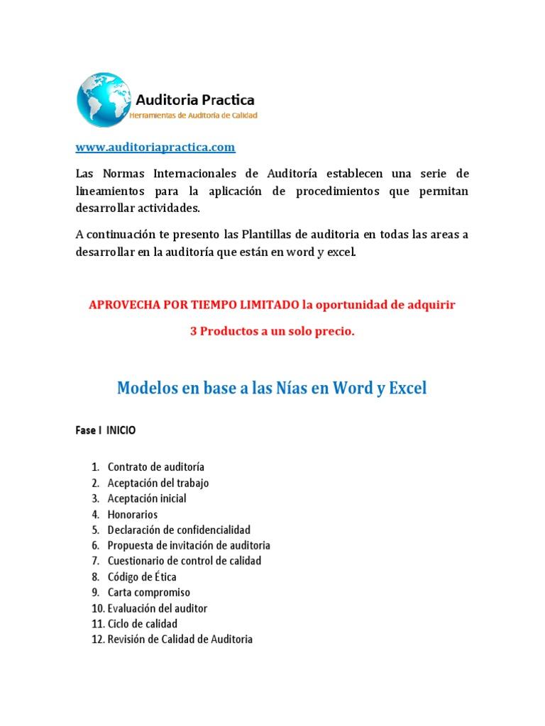 Modelos de Auditoria en Word y Excel