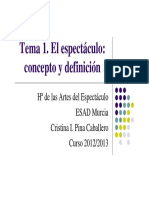 Tema 1. El Espectáculo. Concepto y Definicion