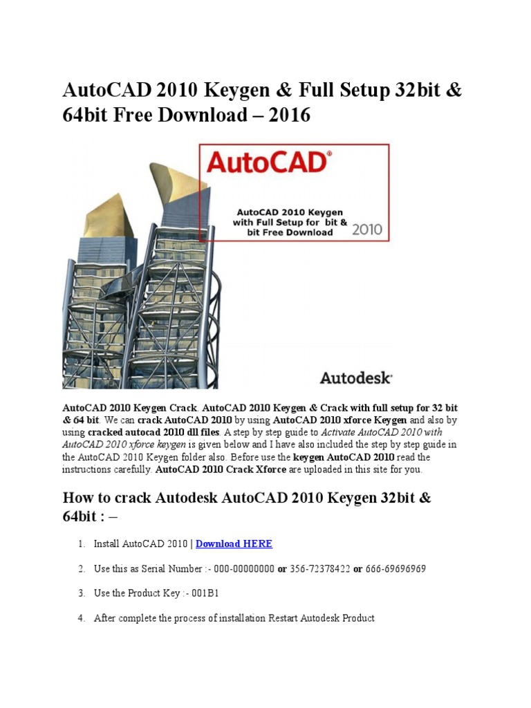 autocad 2010 xforce keygen 32/64 bits download