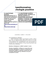 Questionnaires Psychologie Positive
