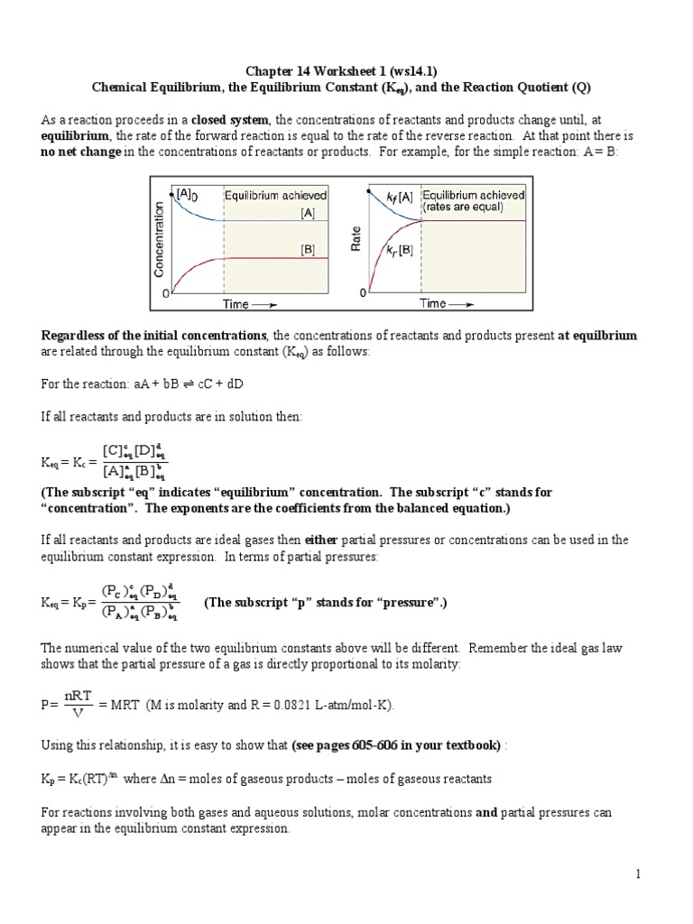 worksheet Chemical Equilibrium Worksheet Answers ws14 1 2 chemical equilibrium branches of thermodynamics