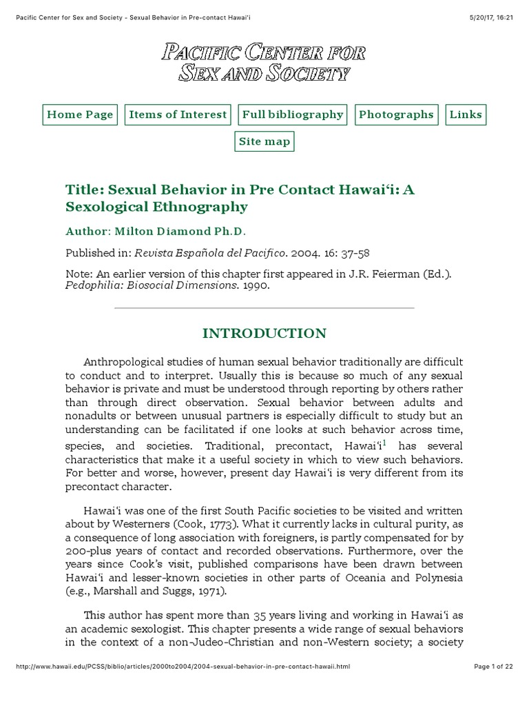 Pacific Center for Sex and Society - Sexual Behavior in Pre-contact Hawai'i  | Nudity | Sexual Intercourse