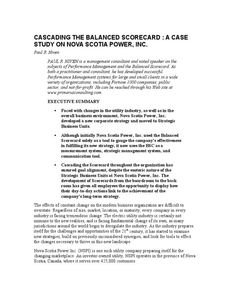 Cascading the Balanced Scorecard - A Case Study on Nova Scotia Power ...