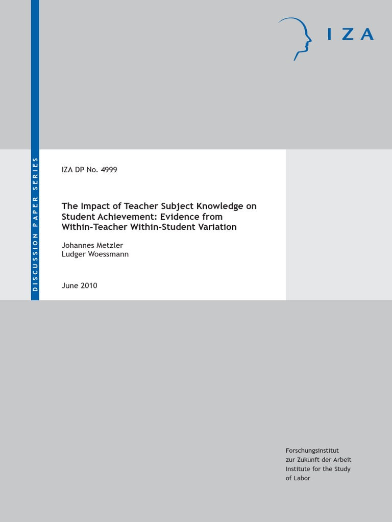 impact of teachers subject matter knowledge Fennema, e, & franke, m l (1992) teachers' knowledge and its impact  of research on mathematics teaching and learning  subject matter knowledge in.