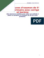 13_épreuves_d'examen_de_5e_année_primaire_avec_corrigé_et_barème.doc