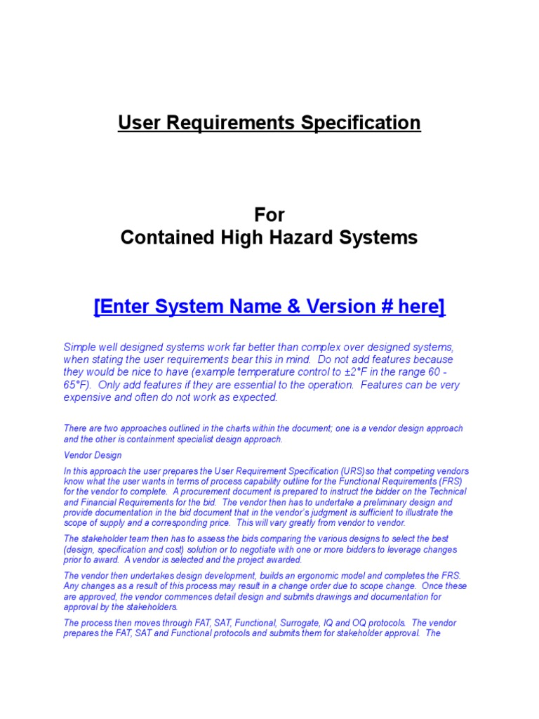 Sample URS For Isolator Following Flow Chart User Requirements - User requirement specification