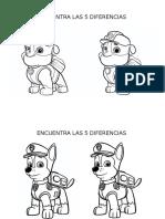 Encuentra Las 5 Diferencias Con La Patrulla Canina Editable