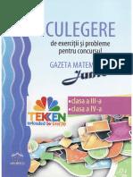 Culegere Gazeta Matematica Junior Clasele 3 4 Ed Dph.1