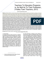 Perception of Pre Service Trainees to the Training Program and Teaching Profession the Case of Adwa Teachers and Educational Leadership College 2012 Graduates