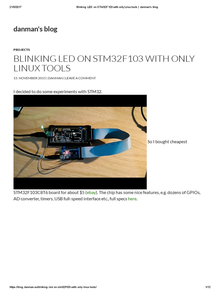 Blinking LED on STM32F103 With Only Linux Tools _ Danman's