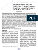 Status of Sexual Harassment and Their Consequences in the Case of Adwa College of Teachers and Educational Leadership Education Extension Students in the Year 2014
