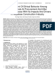 Assessment of Ethical Behavior Among Professionals at Procurement and After Tendering Process With Its Impacts and Drivers in Nepalese Construction Industry