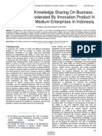 The Effect of Knowledge Sharing on Business Performance Moderated by Innovation Product in the Small and Medium Enterprises in Indonesia