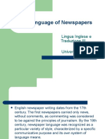 The Language of Newspapers Lingua Inglese 3