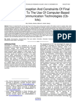 Availability Perception and Constraints of Final Year Students to the Use of Computer Based Information Communication Technologies Cb Icts