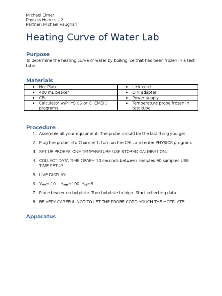 worksheet Heating Curve Worksheet Answers heating curve of water lab ice