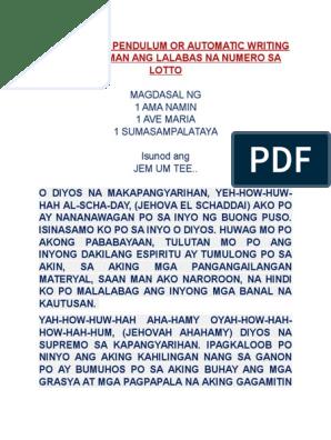 Para Malaman Ang Lalabas Na Numero Sa Lotto