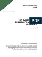 Há Evidencias de Desindustrialização No Brasil - BNDES