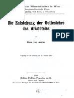 Arnim, Die Entstehung der Gotteslehre des Aristoteles (1931)