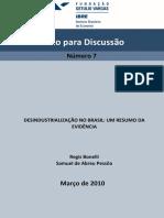 Desindustrialização No Brasil - FGV